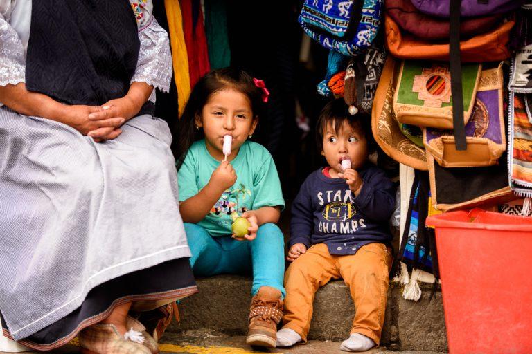 black traveler, street market children Ecuador, schools